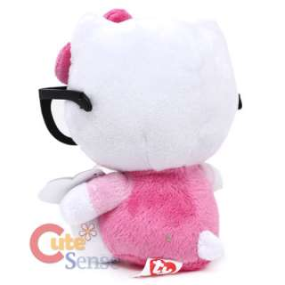Hello Kitty Nerd Plush Doll with Glasses  Licensed Pink Bean Plush 6