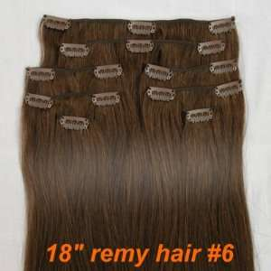 18 Remy Clip In Human Hair Extensions #6 Light Brown