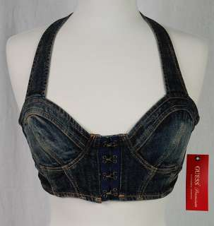 GUESS JEANS Halter Denim Bra Top   SONORA WASH BLUE