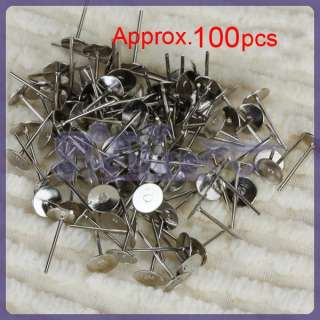 100 Lot 6mm Silver Tone Flat BASE Pad Earring Make DIY Posts Studs