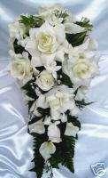 21pcs Bridal bouquet wedding flowers IVORY / PEARL