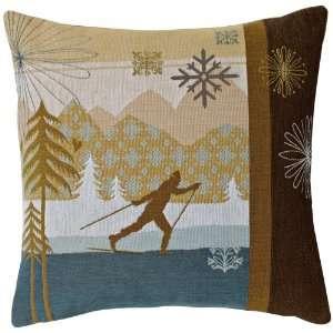 Ski Country Blue Skier 18 Square Pillow