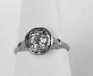 ANTIQUE 18K WHITE GOLD ART DECO .50 CT OLD MINE DIAMOND ENGAGEMENT