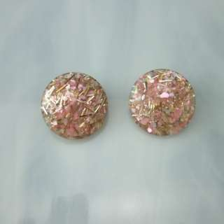 Pink Confetti Lucite Vintage Clip Earrings