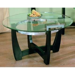 Designs 3258 Series Round Cocktail Table with Glass Top Furniture