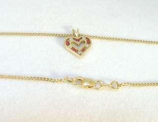 10K Yellow Gold Ruby & Diamond Heart Pendant w/Chain