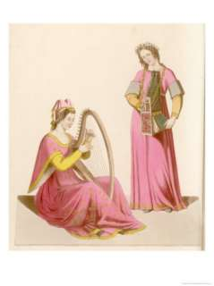 Two Ladies One Playing the Harp the Other a Portable Organ Giclee