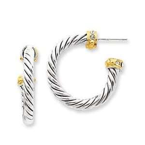 Sterling Silver Vermeil Crystal Hoop Post Earrings Jewelry