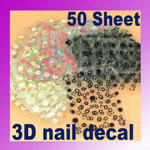 50 Sheet Mix Color 3D Flower Nail Art Sticker Tip Decal