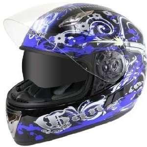 Hawk Blue Gangster Graphics Helmet with Dual Visors Sz L