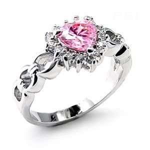 Heart Shape Pink CZ Sterling Silver Ring SZ 8 Jewelry