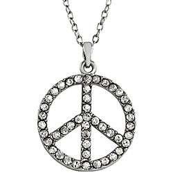 Zinc Alloy Rhinestone Peace Sign Necklace