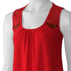 Max by Adi Womens Scoop Neck Studded Tank Top