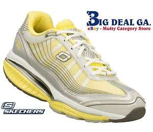 Skechers Shape Ups Womens Shoes SRR Resistor Ambition Silver/Yellow