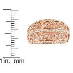 Yach 14k Rose Gold Pink Opal and 3/5ct TDW Diamond Ring (G H, I1 I2
