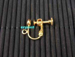 Gold Plated Earring Finding Screw Back Hook 30pcs