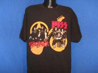 vintage AEROSMITH KISS SUPER ROCK TOUR 2003 BLACK 2 SIDED t shirt MEN