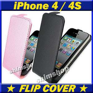 APPLE IPHONE 4 4S 4G BLACK PU LEATHER FLIP CASE COVER CASES COVERS