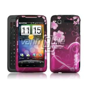 VMG Pink/Purple Love Heart & Flowers Design Plastic Snap On Case for