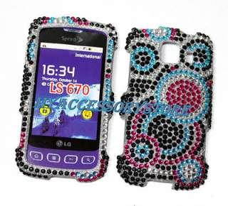 Sprint LG Optimus S LS670 Colorful Rhinestones Crystal Bling Phone