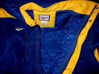 UCLA BRUINS Jacket Mens M REEBOK Blue & Gold Winter Coat Hood Starter