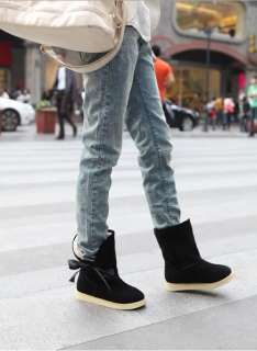 Fashion Vogue Flats Heels Boots Lace Winter Boots Bow Mid Calf Snow