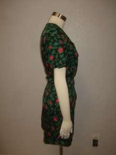 Kensie Anthropologie Chic Black Green Pink Floral Print Scoop Style