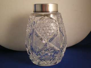 Meriden cut glass SUGAR shaker Wilcox sterling rim top
