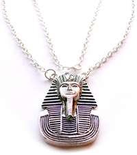 Silver Tutankhamun King Tut Egyptian Pendant Necklace