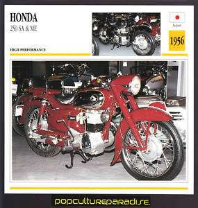 1956 HONDA 250 SA & ME Motorcycle ATLAS PHOTO SPEC CARD
