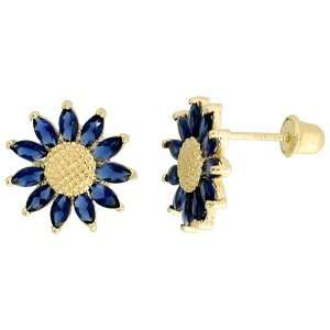 Earrings, w/ Marquise Cut Blue Sapphire colored CZ Stones Jewelry