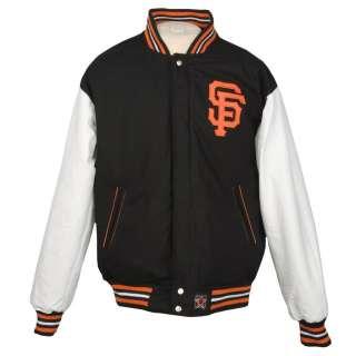 JH Designs Mens San Francisco Giants Reversible Wool Varsity Jacket
