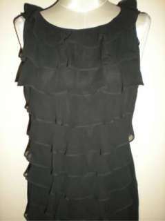 BLACK ADRIANNA PAPELL CHIFFON RUFFLE FRONT DRESS 10