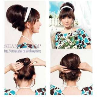 Bun Hair Extensions Clip on In Women Party Costume Updos Pony Tail