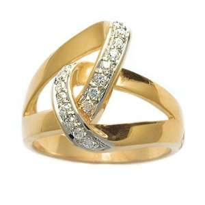 Ladies 18K Gold Plated Clear Cubic Zirconia Lace Knot Ring Jewelry