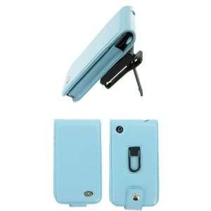 Apple iPhone 3G   Blue Premium Leather Flip Case with