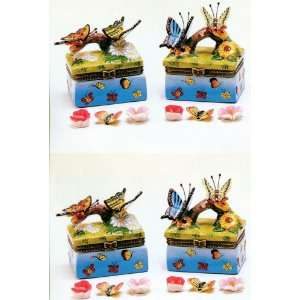 Set of 4 pc Couple Butterlies on Flower Tree Branch Trinket Box