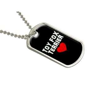 Toy Fox Terrier Love   Black   Military Dog Tag Luggage