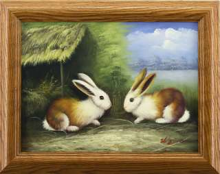 Bunny Rabbits Animal Couple Straw   FRAMED OIL PAINTING