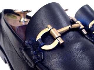 Salvatore Ferragamo Mens Black Dress Shoes Gold Gancini Bit Loafers 9