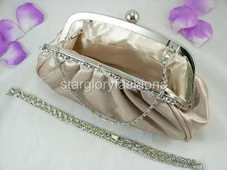 Champegne/Beige Satin Crystal Flowers Wedding/Party Clutch ECR 068280