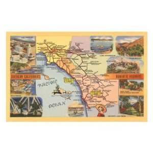 Map of Los Angeles, California Art Poster Print, 18x13