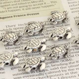 20PC TIBETAN SILVER SEA TURTLE CHARM BEADS FIT BRACELET