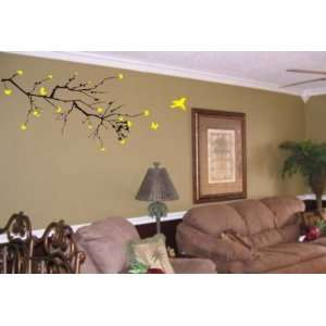 Big Cherry Blossom Branch with Birds Sticker Wall Decal Elegant Nature