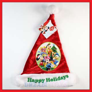Mickey Mouse and Friends Kids Red Velour Christmas Santa Hat