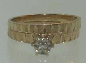 14k yellow gold diamond solitaire ring estate vintage