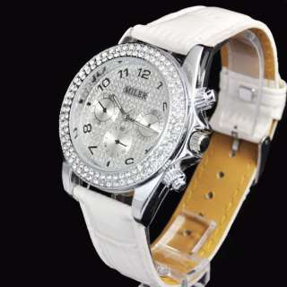 Chrono Crystal Diamond Quartz Wristwatch Leather Luxury UK