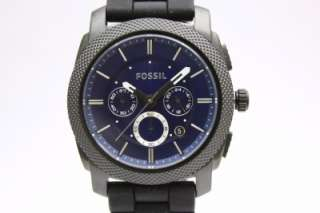 New Fossil Men Machine Chronograph Black Rubber Band Date Watch 45mm
