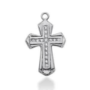14K White Gold Round Diamond Pave Set Cross Pendant (0.29ct) Jewelry