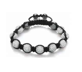 WHITE Shamballa Bracelet 10mm CZ Crystal Pave Disco Ball beads